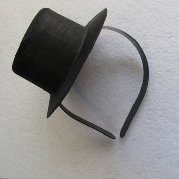 Mini Snowman Black Top Hat  OR Pilgrim Hat headband or Elastic Costume Accessory Kids Adults Dog Cat Thanksgiving Christmas 5""