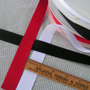 Plain Grosgrain Ribbon, Red, Black or White, by Offray for your sewing and crafting needs.