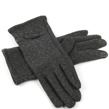 Grey Fleece Layered Touch Screen Gloves