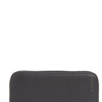 Calfskin Leather Zip Around Wallet