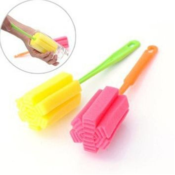 For Kitchen 1 pcs Sponge Brush Cleaning Bottle Glass Cup