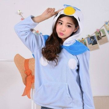 Cosplay  Spring Cute Anime  Piplup Penguin Hoodie with Ears Tail Women Men Sweatshirt HoodyKawaii Pokemon go  AT_89_9
