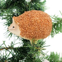 Golden Bell Collection HEDGEHOG CLIP ON Glass Ornament Animal An484