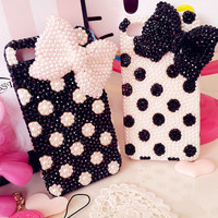 iphone 3/4/4s/5,Apple ipod 4/5,Samsung Galaxy S3/S4/S4 Active,Samsung Note 1/2,Htc One,Blackberry Q10 Z10 Case Bling Pearls Sparkle Bowknots