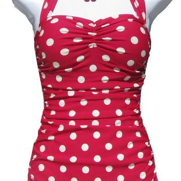 Esther Williams Pinup Swim Suit RED White Polka DOT Vintage 1950's ONE Piece