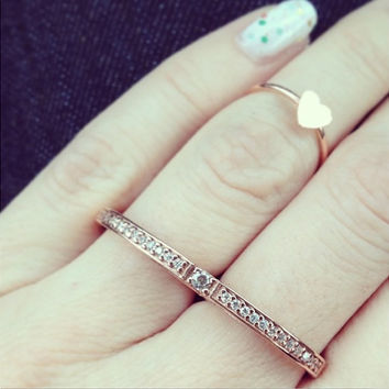Silver Two Finger Ring - Double Rose Gold Ring - Sterling Silver Ring - Sterling Silver Stacked Ring - Micro Pave Ring