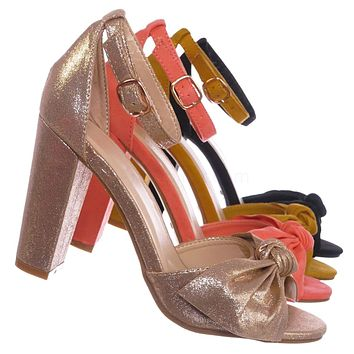 Mania18 Chunky Block Heel Dress Sandal - Women Bow Adjustable Ankle Strap Shoes
