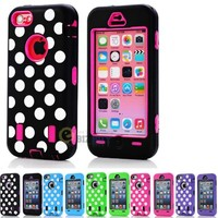 myLife Hot Pink + Black Polka Dotted Style 3 Layer (Hybrid Flex Gel) Grip Case for New Apple iPhone 5C Touch Phone (External 2 Piece Full Body Defender Armor Rubberized Shell + Internal Gel Fit Silicone Flex Protector)