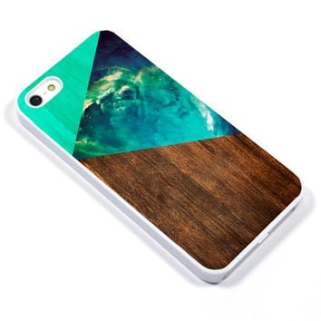 Personalised iPhone Case iPhone 5 iPhone 5s iPhone 5C iphone 4 Samsung Galaxy S3 S4 - abstract wood galaxy space green - p27