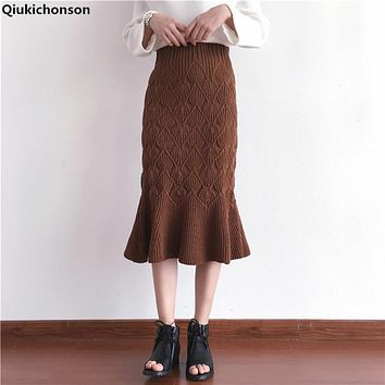 Qiukichonson Autumn winter women knitted skirts 2017 vintage solid elastic High Waist Ruffles thicken mid long fish tail skirts