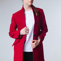 Burgundy Coat Red Wine Coat Marsala Coat Burgundy Jacket Spring Women Coat Wool Coat Trendy Coat Short Coat Classy Coat Red Wine Jacket