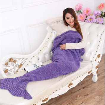 195*95CM Large Size mermaid blanket Handmade Crochet Sea Maid Tail Blanket Colorful Kids Throw Super Soft Free Shipping