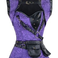 Atomic Purple Steel Boned Steampunk Overbust Corset