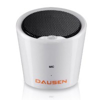 Ultra Compact Pure Decibel White Bluetooth Speaker, Minimalist Design, by Dausen with Siri Support for iPhone, iPad and Bluetooth Enabled Phones