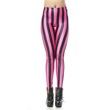 Pink Vertical Striped Leggings