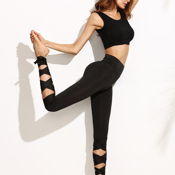 Black Wide Waistband Leggings