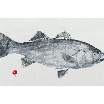 East End Fish, Striped Bass, Mixed Media