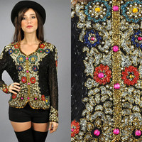 Vtg 1980's BEADED Jewel Encrusted SILK Blouse by EAMinternational