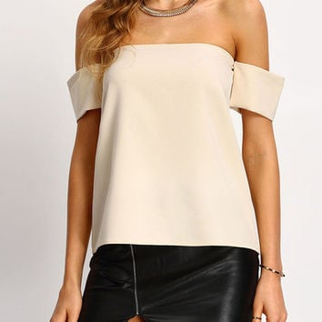♡ Elegance is not about being noticed - It's about being remembered...♡ Apricot Off The Shoulder Shirt