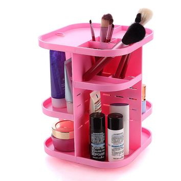 360 Rotating Makeup Organizer Shelf For Cosmetic Brushes Lipstick Large Capacity Storage Rack For Vanity Pink White Black HB88