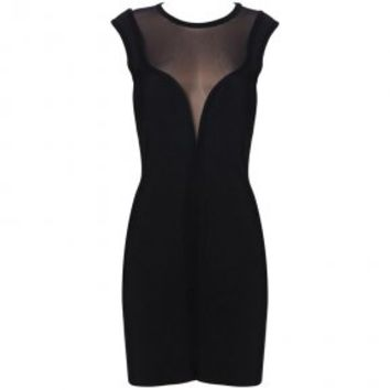 Bqueen Black Mesh Bandage Dress T008H - Designer Shoes|Bqueenshoes.com