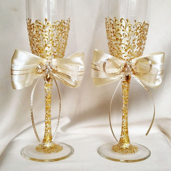 Personalized Wedding Flutes Champagne Gles Toasting Gold