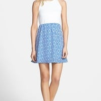 dee elle Textured Bodice Print Skirt Skater Dress (Juniors)