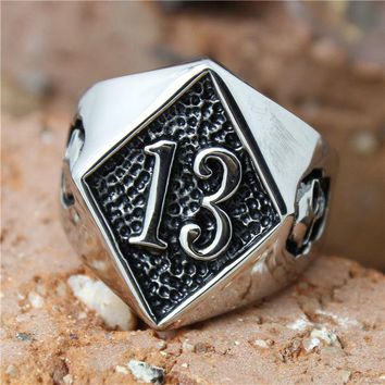 DCCKHY9 Band Party 316L Stainless steel Polishing Silver Biker 13 Ring Cool Skull Biker Ring