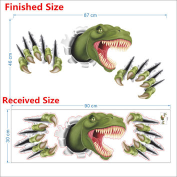 Cartoon dinosaur through wall stickers for kids room bedroom decor animal 3D effect brocken wall home decal poster children toy SM6