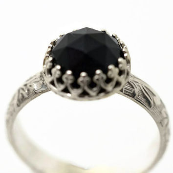 Black Onyx Ring, Black Gemstone Ring, Sterling Silver Ring, Onyx Engagement Ring, Silver Wedding Ring