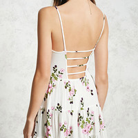 Cutout Back Floral Cami Dress