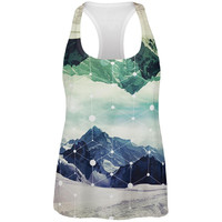 Geometric Mountains All Over Womens Racerback Tank Top