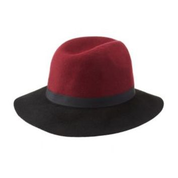 Burgundy Color Block Felt Panama Hat by Charlotte Russe