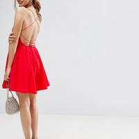 ASOS Plunge Strap Back Mini Dress at asos.com