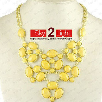 womens bubble Necklace yellow Bib Necklace wedding Statement Necklace Beaded Necklace womens Necklace