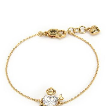 Gold Stone Heart & Crown Wish Bracelet by Juicy Couture, O/S