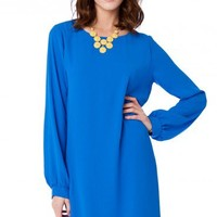 Clora Shift Dress in Blue - ShopSosie.com