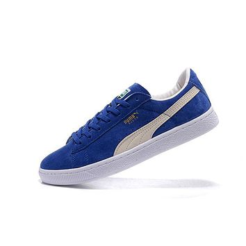 Puma SUEDE CLASSIC+ Shoes Women Men Sneaker White Blue