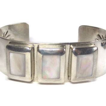 Large Vintage Sterling Navajo Mother of Pearl Cuff Bracelet