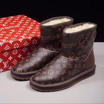 ONETOW Sale Louis vuitton LV x Supreme x UGG Customise Brown Print Wool Mid Boost