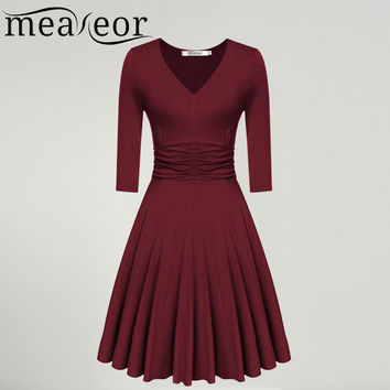 Meaneor Brand Ladies Dress V-Neck 3/4 Sleeve rockabilly Swing Pleated Dress Ruched Waist Casual Party Vintage Long Vestidos