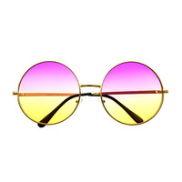 Two Tone Lens Large Oversized Metal Circle Round Sunglasses R1800