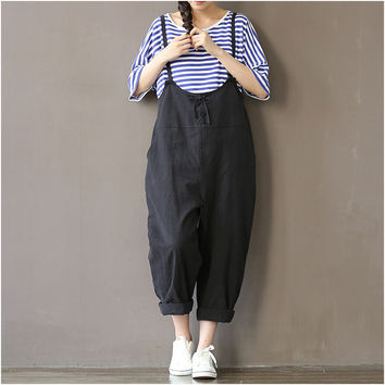 Women Pants  Black Beige Color Loose Waist Cross Pants Cotton Trousers Plus Size M~XXXL Bandage Trousers Rompers Wide Leg Pants