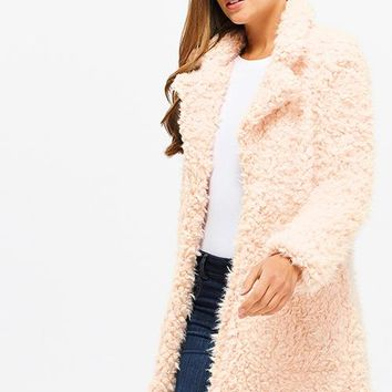 Blush Pink Fuzzy Jacket