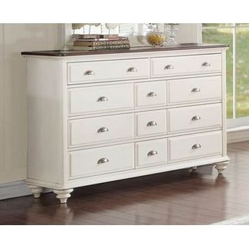 Homelegance Floresville Dresser In Antique White / Dark Cherry Top