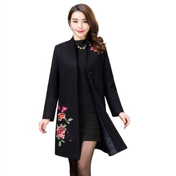 Oversized Wool Winter Jacket Female 2017 Women's Embroidered Black Red Long Woolen Coat Long Sleeves Large Size Loose Overcoat