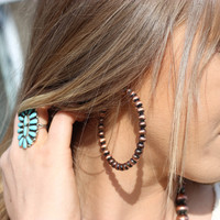 Navajo Pearl Hoop Earrings - Copper