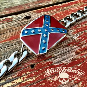 'Heritage not Hate' Steel Confederate Flag Bracelet (871)