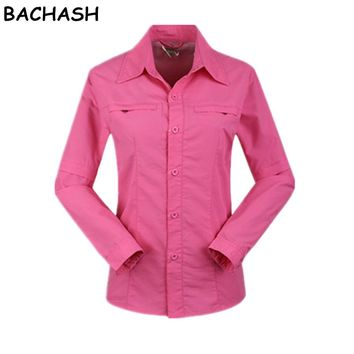 Women Quick Dry Blouses Clothes Breathable Thin Work Summer Spring Autumn UV Protection Removable Shirt