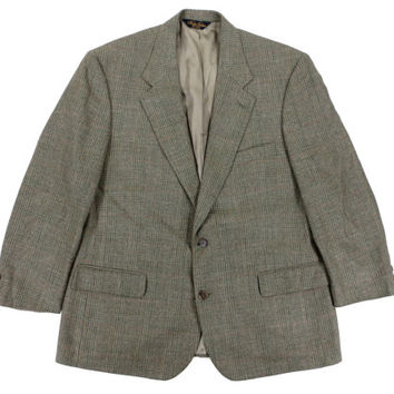 Brooks Brothers Sport Coat in Sage Green Plaid - Blazer Jacket Wool Ivy League Menswear - Men's Size 43 Large Lrg L